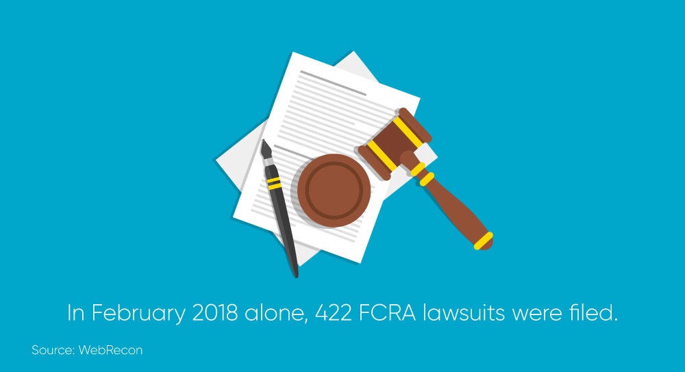 Image showing that in February 2018 alone, 422 FCRA lawsuits were filed.