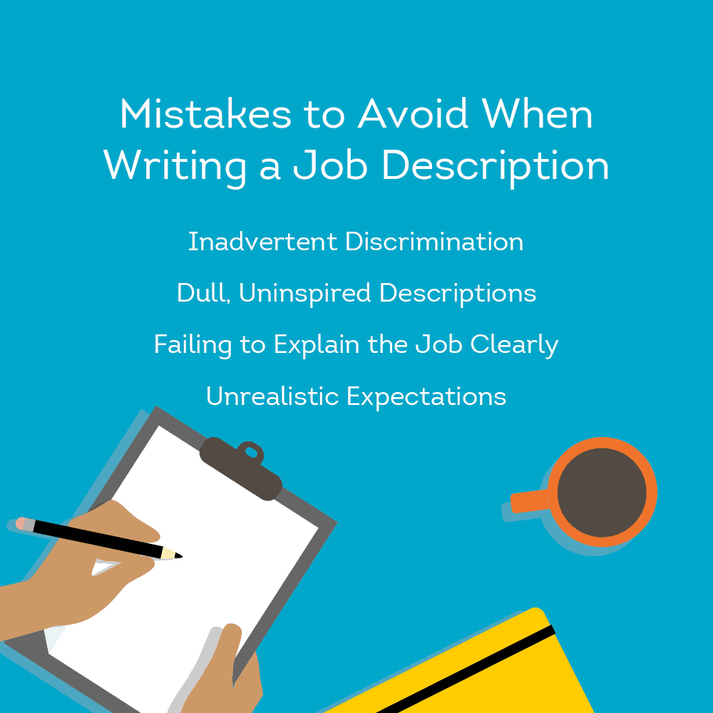 Graphic shows mistakes to avoid when writing job description