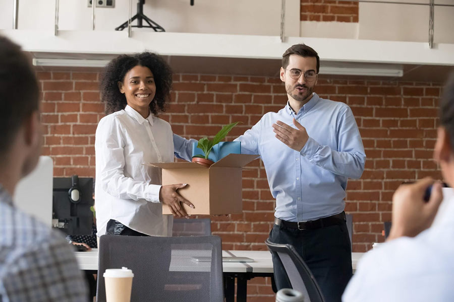 Employer introducing new hire during onboarding process