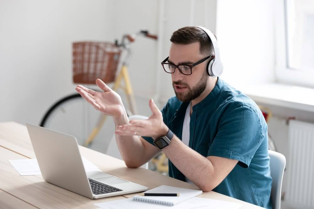 Conduct video interview conversations with candidates via laptop computer