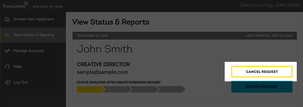how to cancel a screening request